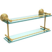 Que New 22 Inch Double Glass Shelf with Gallery Rail, Polished Brass