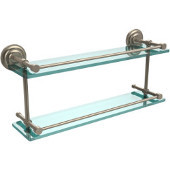 Que New 22 Inch Double Glass Shelf with Gallery Rail, Antique Pewter