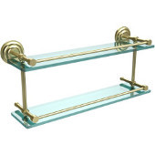 Que New 22 Inch Double Glass Shelf with Gallery Rail, Satin Brass