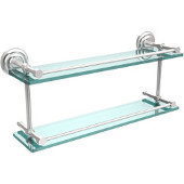 Que New 22 Inch Double Glass Shelf with Gallery Rail, Satin Chrome