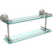 Que New 22 Inch Double Glass Shelf with Gallery Rail, Satin Nickel
