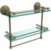 16 Inch Gallery Double Glass Shelf with Towel Bar, Antique Brass