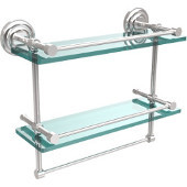 16 Inch Gallery Double Glass Shelf with Towel Bar, Polished Chrome