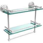 16 Inch Gallery Double Glass Shelf with Towel Bar, Satin Chrome