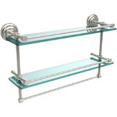 22 Inch Gallery Double Glass Shelf with Towel Bar, Polished Nickel