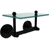 Que New Collection Two Post Toilet Tissue Holder with Glass Shelf, Matte Black