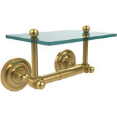 Que New Collection Two Post Toilet Tissue Holder with Glass Shelf, Polished Brass