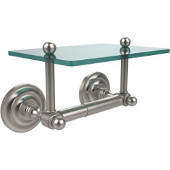Que New Collection Two Post Toilet Tissue Holder with Glass Shelf, Satin Nickel