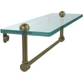16 Inch Glass Vanity Shelf with Integrated Towel Bar, Antique Brass