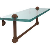 16 Inch Glass Vanity Shelf with Integrated Towel Bar, Antique Bronze