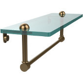 16 Inch Glass Vanity Shelf with Integrated Towel Bar, Brushed Bronze