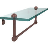 16 Inch Glass Vanity Shelf with Integrated Towel Bar, Antique Copper