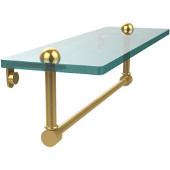 16 Inch Glass Vanity Shelf with Integrated Towel Bar, Unlacquered Brass