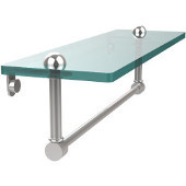 16 Inch Glass Vanity Shelf with Integrated Towel Bar, Polished Chrome