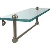 16 Inch Glass Vanity Shelf with Integrated Towel Bar, Antique Pewter