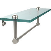 16 Inch Glass Vanity Shelf with Integrated Towel Bar, Polished Nickel