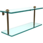 16 Inch Two Tiered Glass Shelf, Brushed Bronze