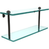 16 Inch Two Tiered Glass Shelf, Oil Rubbed Bronze