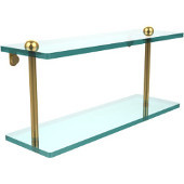 16 Inch Two Tiered Glass Shelf, Unlacquered Brass