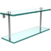 16 Inch Two Tiered Glass Shelf, Polished Chrome