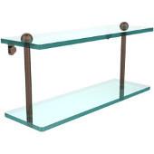 16 Inch Two Tiered Glass Shelf, Venetian Bronze
