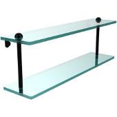 22 Inch Two Tiered Glass Shelf, Matte Black