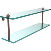22 Inch Two Tiered Glass Shelf, Antique Copper