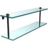 22 Inch Two Tiered Glass Shelf, Oil Rubbed Bronze