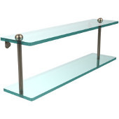 22 Inch Two Tiered Glass Shelf, Antique Pewter