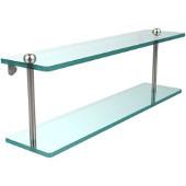 22 Inch Two Tiered Glass Shelf, Polished Nickel