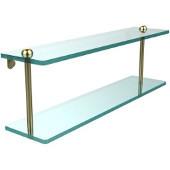 22 Inch Two Tiered Glass Shelf, Satin Brass