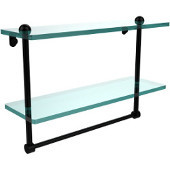 16 Inch Two Tiered Glass Shelf with Integrated Towel Bar, Matte Black