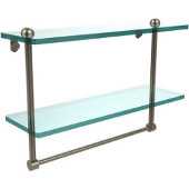 16 Inch Two Tiered Glass Shelf with Integrated Towel Bar, Antique Pewter