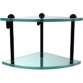 Two Tier Corner Glass Shelf, Matte Black