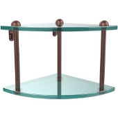 Two Tier Corner Glass Shelf, Antique Copper