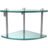 Two Tier Corner Glass Shelf, Polished Chrome