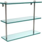 16 Inch Triple Tiered Glass Shelf, Polished Nickel