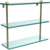 16 Inch Triple Tiered Glass Shelf, Satin Brass