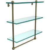 16 Inch Triple Tiered Glass Shelf with Integrated Towel Bar, Antique Brass