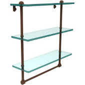 16 Inch Triple Tiered Glass Shelf with Integrated Towel Bar, Antique Bronze