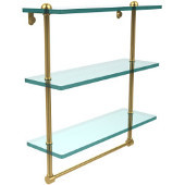 16 Inch Triple Tiered Glass Shelf with Integrated Towel Bar, Unlacquered Brass