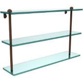 22 Inch Triple Tiered Glass Shelf, Antique Bronze