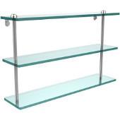 22 Inch Triple Tiered Glass Shelf, Satin Chrome