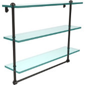 22 Inch Triple Tiered Glass Shelf with Integrated Towel Bar, Oil Rubbed Bronze