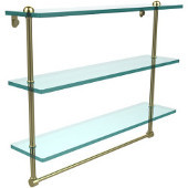 22 Inch Triple Tiered Glass Shelf with Integrated Towel Bar, Satin Brass