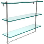 22 Inch Triple Tiered Glass Shelf with Integrated Towel Bar, Satin Chrome