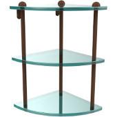 Three Tier Corner Glass Shelf, Antique Bronze