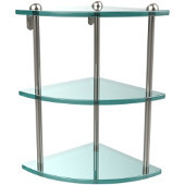 Three Tier Corner Glass Shelf, Polished Nickel