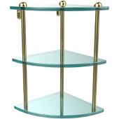 Three Tier Corner Glass Shelf, Satin Brass