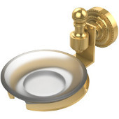 Retro-Dot Collection Soap Dish with Glass Holder, Standard Finish, Polished Brass